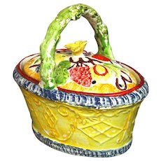 Antique English Yellow-ground Pearlware Basket decorated with Fruit, Circa 1825.