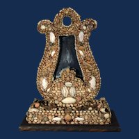 An American Shellwork Standing Mirror in the Form of a Harp, Circa 1885