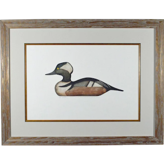 Duck Decoy Print  By Arthur Nevin, Hooded Merganser Drake Decoy, Crisfield, Maryland 1935, Signed and number 23/150, Circa 1965.