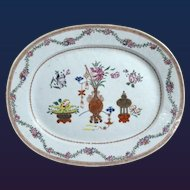 Chinese Export Oval Porcelain Famille Rose Dish, Circa 1765-75.