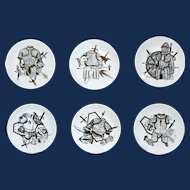 Vintage Piero Fornasetti Set of Six Plates with Coats of Armour, Armature Pattern, 1960.