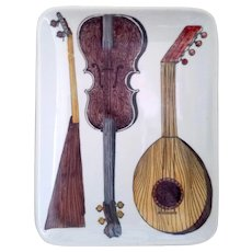 Piero Fornasetti Dish with Stringed Musical Instruments, 1960's.