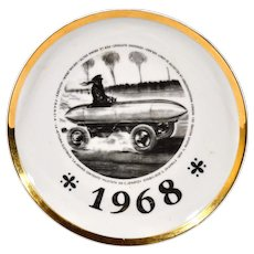 Vintage Piero Fornasetti Plate, Dated 1968, Special Edition made for the 1967 Turin Motor Show.