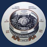 Vintage Piero Fornasetti Astrological Zodiac Plate-Cancer, Gli Zodiaci Farmacopei, No 8, Especially made for Crinos By Fornasetti