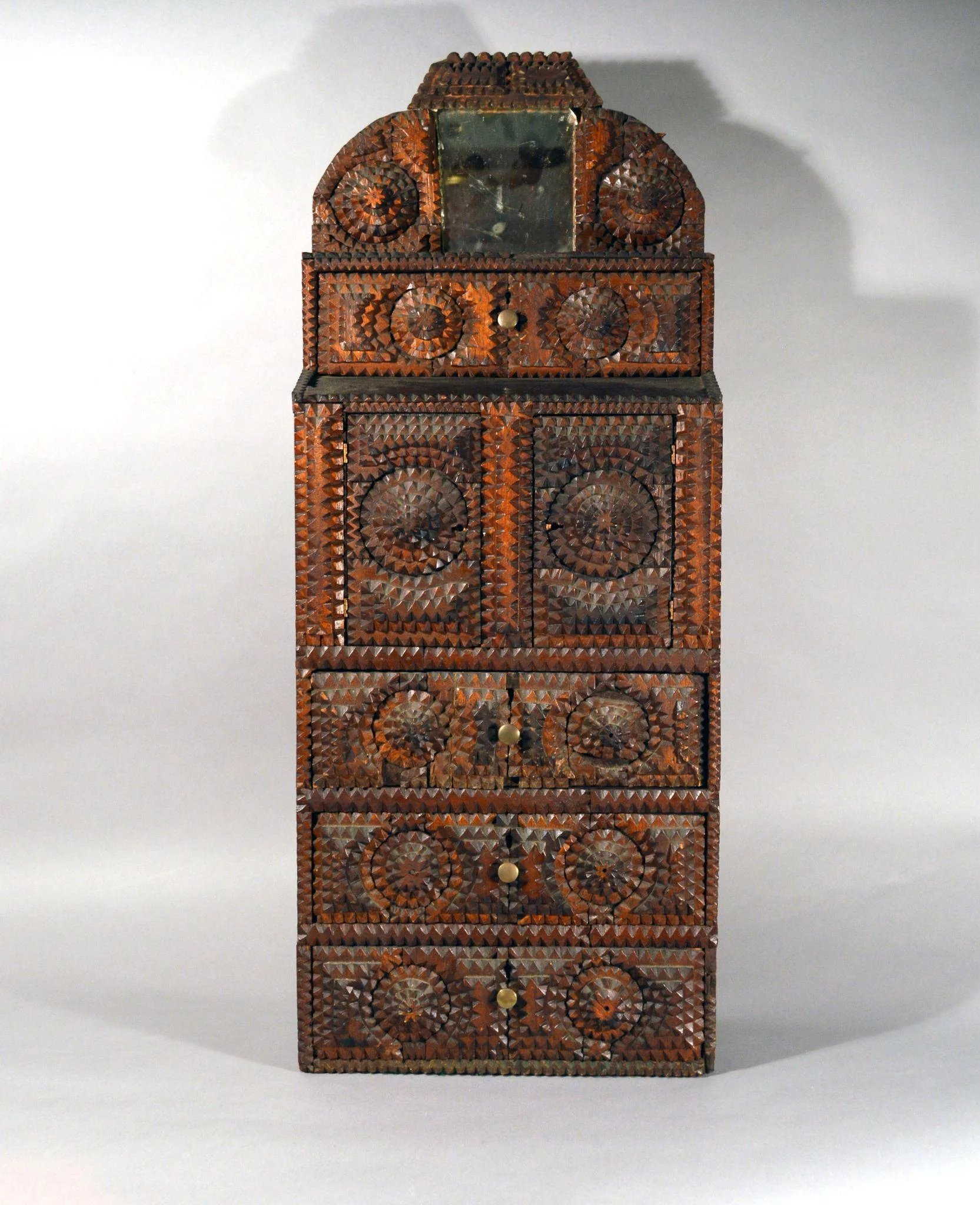 Folk Art American Tramp Art Cabinet Earle D Vandekar Of Knightsbridge Inc Rubylux