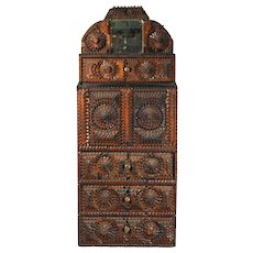 Folk Art American Tramp Art Cabinet