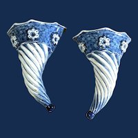 Liverpool Delftware Blue & White Spiral  Wall Pockets, Circa 1750.