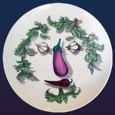 Piero Fornasetti Vegetable Face Ceramic Plate, Arcimboldesca Pattern, Circa 1950s.
