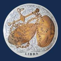 Piero Fornasetti Libra Zodiac Porcelain Plate made for Corisia in 1970.