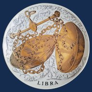 Piero Fornasetti Libra Zodiac Porcelain Plate made for Corisia in 1970.
