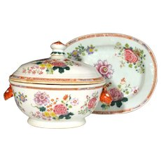 Chinese Export Famille Rose Porcelain Tureen, Circa 1765.