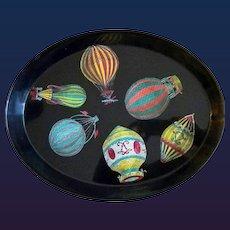 Piero Fornasetti Metal Tray with Palloni design- Hot Air Balloons, 1950s.