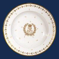 Sevres Crested Porcelain Soup Plate, Louis Philippe I, Château de Compiègne, 1845.