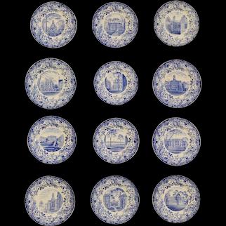 Wedgwood Pottery Set of Twelve Plates with Harvard Scenes, 1927.