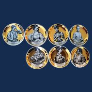 Piero Fornasetti Ceramics Coasters,  Melodramma Pattern (Melodrama), Boxed Set of Eight, 1960s.