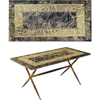 Piero Fornasetti Bordo Bassorilievo Pattern Coffee Table.