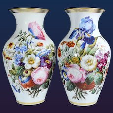 Pair of Paris Porcelain Botanical Vases