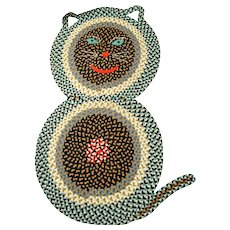 American Folk Art Braided Rug in the Form of a Cat,  Probably Pennsylvania, 1940s.