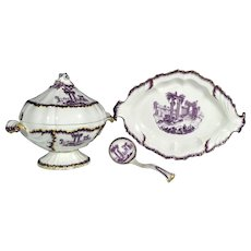 Puce-decorated Neale & Co. Creamware Sauce Tureen, Cover, Stand and Ladle, Circa 1780-5.