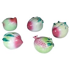 Group of Five Chinese Porcelain Temple Fruits, mid-19th Century.