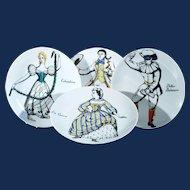 Piero Fornasetti Set of Four Porcelain Commedia Dell'arte Maschere Italiane Plates, Italian Masks, Circa 1970s