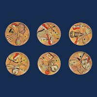 Piero Fornasetti Set of Six Strumenti Musicali Plates, 1950s-1960s.