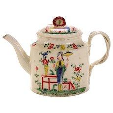 Antique Chinoiserie Creamware Pottery Teapot & Cover,  Melbourne, Derbyshire, Circa 1765.