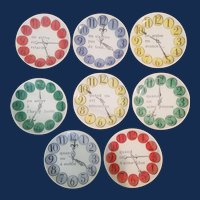 """Piero Fornasetti Set of Eight """"Quand on Arrive"""" Clock Coasters, """"When one arrives"""", early 1960s."""