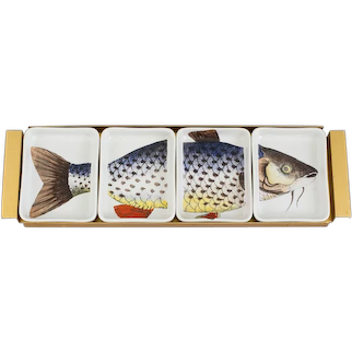 Piero Fornasetti Porcelain Fish Appetizer Hors D'oeuvre Tray,  Pesces, Early 1960s.