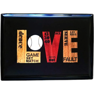 Couroc Resin Mid-century Tray with Tennis-subject, Love, Set & Match,  Circa 1960s.