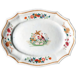 Chinese Export Porcelain Silver-form Dish Decorated with Birds,  Circa 1760.