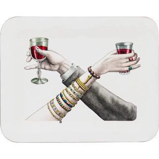 Fornasetti Large Ivory Drinks Tray, Brindisi con figure ( Figures giving a Toast).