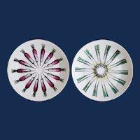 "Vintage Piero Fornasetti ""Giri Di Verdure"" Pattern Plates, Rounds of Vegetables-Leeks & Scallions."