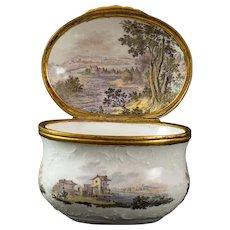 A Fürstenberg Snuff Box with fine painted Landscapes, around 1760