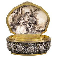 A rare Meissen black-ground Snuff-box with a Painting after Nicolas Lancret