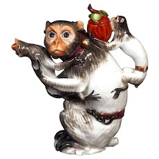 A Meissen Mother Monkey Teapot with Two Babies