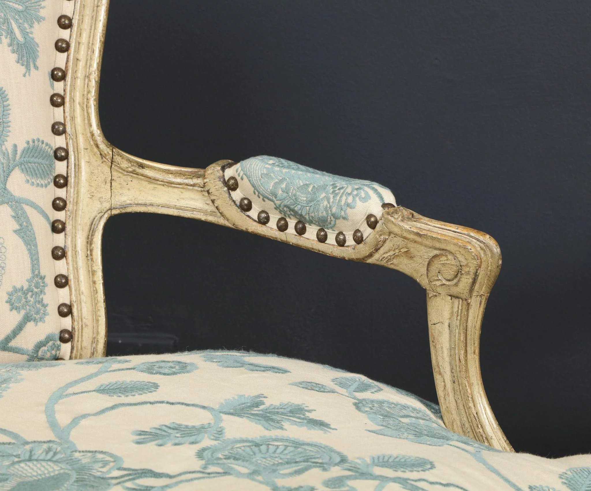 Pair of Louis XV Style Grey Painted Bergeres : Jonathan ...