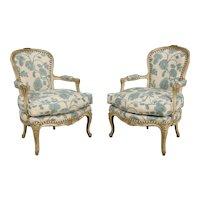 Pair of Louis XV Style Grey Painted Bergeres