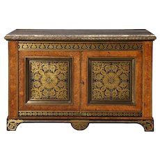A Regency Brass-Inlaid Pollard Oak and Ebony Side Cabinet, circa 1820