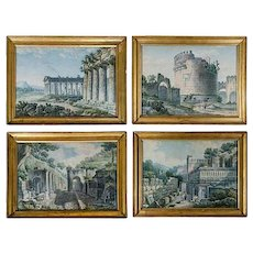 A Set of Four Watercolors of Ancient Ruins, Circle of Ducros, 1800-1810