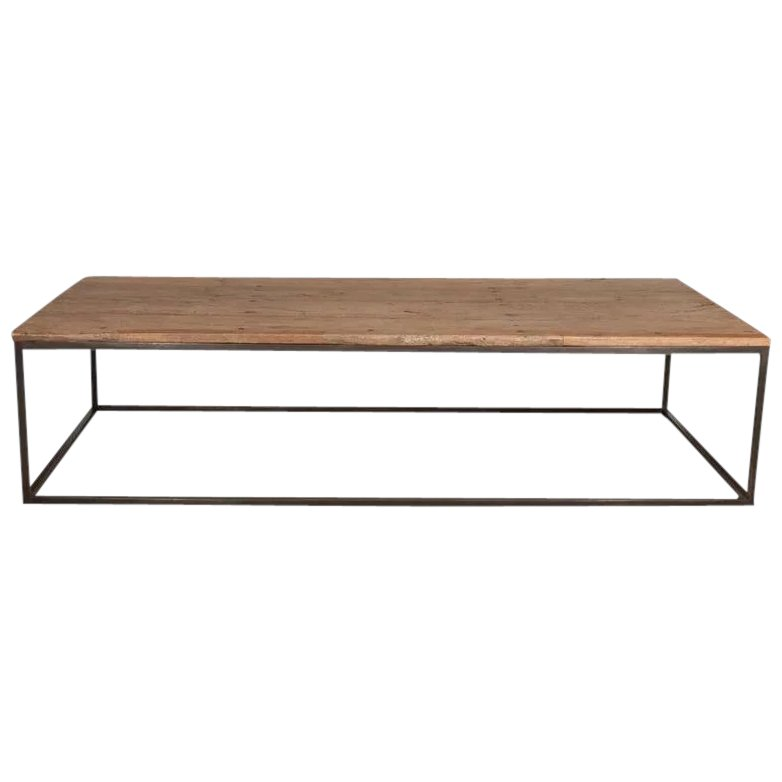 17th Century Spanish Oak Top Low Table On Contemporary Steel Base