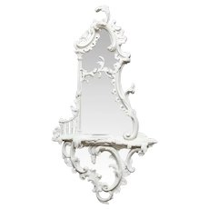 White Painted George III Style Chippendale Girandole Mirror