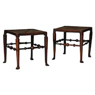 A Pair of Ash Rush Seated Stools