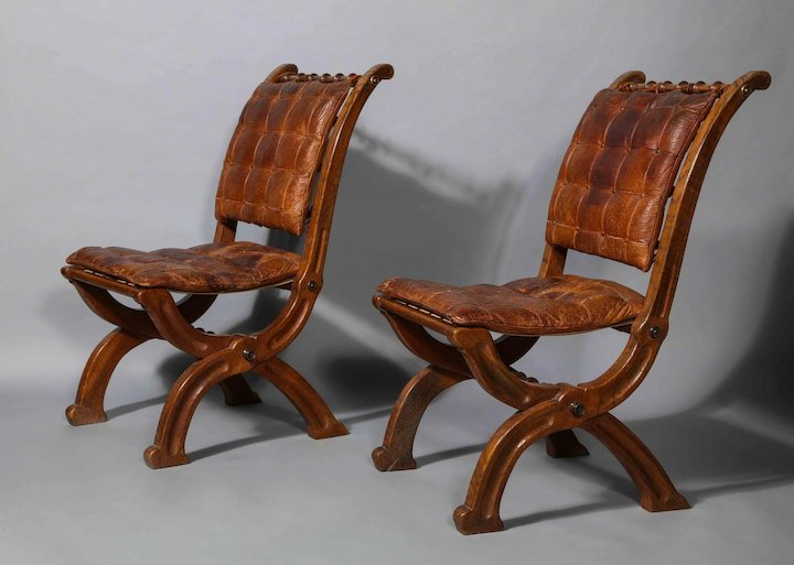 Beau Two Pairs Of Oak Folding Chairs In The Style Of A.W.N Pugin, Circa 1860