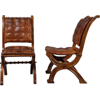 Two Pairs of Oak Folding Chairs in the style of A.W.N Pugin, Circa 1860
