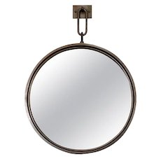 BURDEN Contemporary Circular Steel Mirror on Hanging Backplate