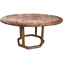 19th Century Chinese Hongmu Round Table with Inset Marble Top