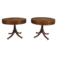 A Pair of 19th Century English Mahogany Drum Tables