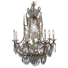 Elegant 8-Light Crystal and Gilt Metal Chandelier