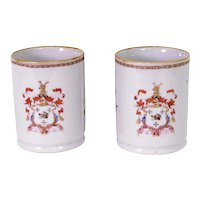 Pair of Chinese Export Armorial Small Mugs, c. 1750